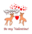 Two funny cartoon deer with words Be my Valentine vector image
