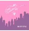 Valentine card city landscape with skyscrapers vector image vector image