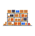 warehouse shelves with cardboard boxes flat style vector image vector image