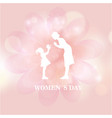 womens day woman shadow pink flower background vec vector image vector image