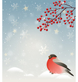 Winter landscape with bullfinch in snow vector image
