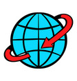 flight around the world icon cartoon vector image
