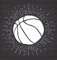 vintage label hand drawn basketball ball sketch vector image