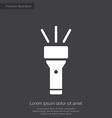 flashlight premium icon white on dark background vector image