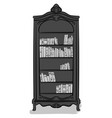 a large high cupboard of gray color with books vector image