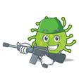 army green bacteria character cartoon vector image