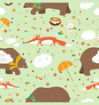 autumn forest seamless pattern with cute animals vector image vector image