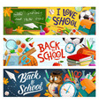 back to school classroom chalkboard and supplies vector image