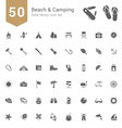 Beach and Camping Solid Icon Set vector image