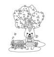 bear cartoon with happy birthday icon design vector image vector image