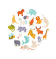 big set cute funny animals abstract design vector image