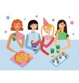 Birthday Party With Four Cute Girls Friends vector image
