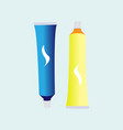 Blue and yellow tube of toothpaste