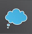 blue comic speech bubble for thoughts cloud shape vector image