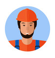 builder man face icon flat builder man face vector image