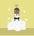 businessman tried and stressed on paperwork vector image vector image