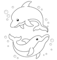 Cartoon Dolphins outline vector image vector image