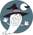 Cartoon ghost wearing a witch hat vector image vector image