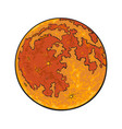 cartoon red full moon vector image