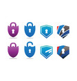 collection of padlock and shield security vector image vector image