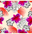 colored and black and white floral pattern vector image