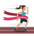 colorful background with female athlete running in vector image