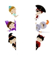 Cute kids in fancy costumes behind placard vector image vector image