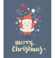 Cute Santa Claus jumping with Christmas presents vector image vector image