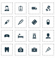 drug icons set with clinic aid medic and other vector image vector image