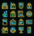 duty free shop icons set neon vector image vector image