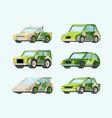 electric cars future set stylish green design vector image