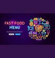 fast food menu neon banner design vector image vector image