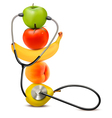 Fruit with a stethoscope Healthy diet concept vector image vector image
