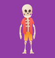 funny cartoon skeleton posing while standing in vector image