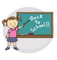 Girl writing on blackboard back to school vector image vector image