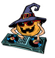 halloween pumpkin dj character isolate on white vector image vector image