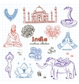 Hand drawn doodle India symbols set vector image vector image