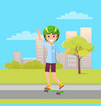 happy skateboarder showing ok sign skateboarding vector image vector image