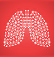 human lungs isolated on a red background vector image