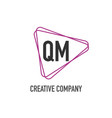 initial letter qm triangle design logo concept vector image vector image