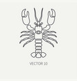line flat plain ocean fauna icon - lobster vector image