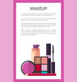 makeup elements on promotional vertical poster vector image