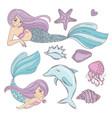 mermaid ocean cartoon travel tropical vector image vector image