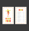 mexican food menu template restaurant cafe vector image vector image