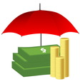 Money under red umbrella Insurance concept vector image