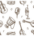 musical instruments and retro microphone sketches vector image vector image