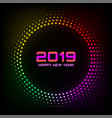 new year 2019 glow brught card background vector image vector image