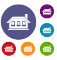 one-storey house with three windows icons set vector image vector image