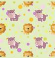 pattern with cartoon cute toy baby behemoth vector image vector image