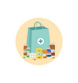 pharmacy bag with pill bottles drug tablets and vector image